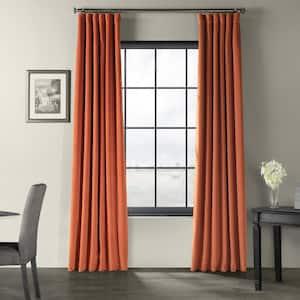 Burnt Pumpkin Velvet Rod Pocket Blackout Curtain - 50 in. W x 84 in. L