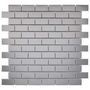 Alloy Subway 11-3/4 in. x 11-3/4 in. Stainless Steel Porcelain Mosaic (9.79 sq. ft./Case)