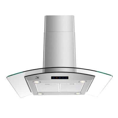 36 in. 480 CFM Convertible Island Range Hood in Stainless Steel with Mesh Filter, Touch Control, LED Lights