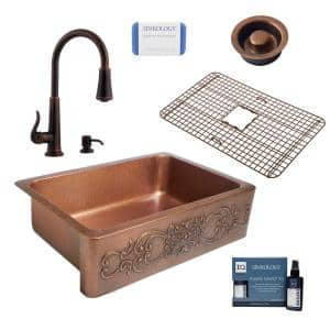 Ganku All-in-One Farmhouse Copper 33 in. Single Bowl Kitchen Sink with Pfister Ashfield Faucet and Drain in Bronze