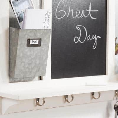 26 in. H x 31 in. W x 5 in D White Wood Multi-Function Wall Organizer with Hooks