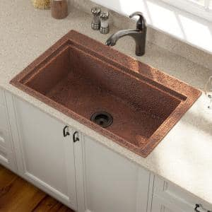 Dualmount Copper 31-1/2 in. Single Bowl Kitchen Sink