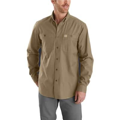Men's Large Tall Dark Khaki Cotton/Spandex Rugged Flex Rigby Long Sleeve Work Shirt
