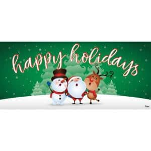 7 ft. x 16 ft. Christmas Characters Happy Holidays-Christmas Garage Door Decor Mural for Double Car Garage