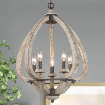 Modern Farmhouse Chandelier Niki 5-Light Taupe Lantern Modern Wood Chandelier With Dot Waterdrop Candelabra Pendant