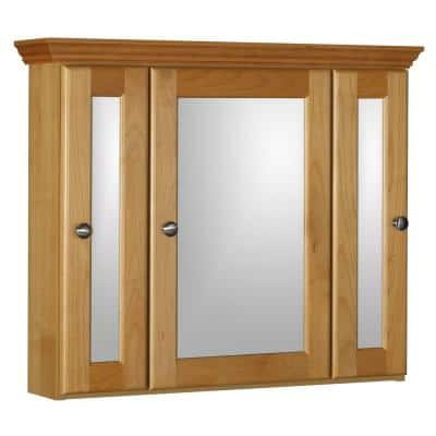 Ultraline 30 in. W x 27 in. H x 6-1/2 in. D Framed Tri-View Surface-Mount Bathroom Medicine Cabinet in Natural Alder