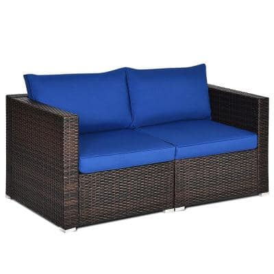 PE Wicker Outdoor Loveseat with Navy Cushions
