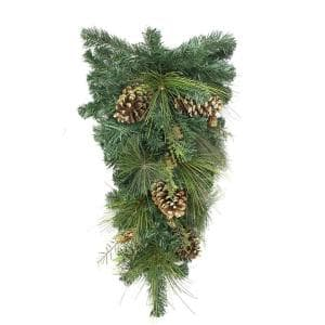 28 in. Unlit Artificial Mixed Pine with Pine Cones and Gold Glitter Christmas Teardrop Swag