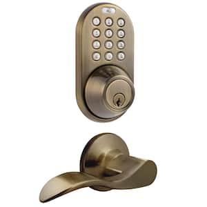 Antique Brass Keyless Entry Deadbolt and Lever Handle Door Lock Combo Electronic Digital Keypad