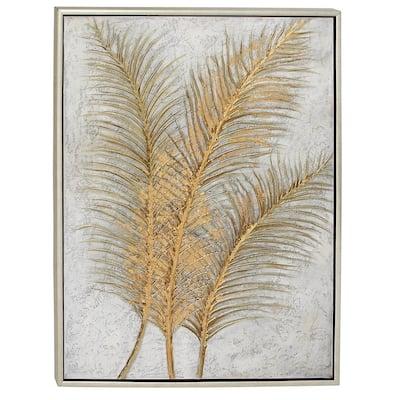 """48 in. x 36 in. """"Golden Palmtree Leaves"""" Canvas Wall Art"""