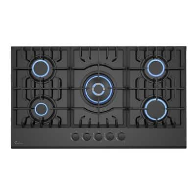 36 in. Built-In Gas Cooktop in Black with 5 Sealed Burners