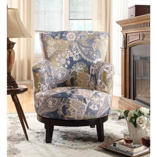 Zoey Swivel Flower Pattern Accent Chair, Patterned Living Room Chairs