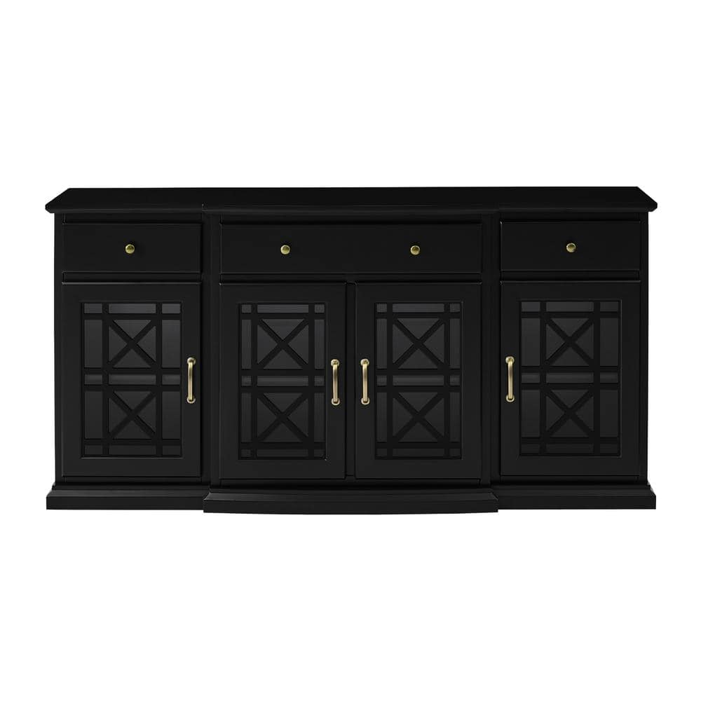 Welwick Designs Black 60 In Tiered Fretwork Sideboard Hd8488 The Home Depot