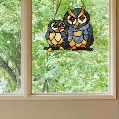 Multi-Colored Stained Glass Friendly Owls Window Panel