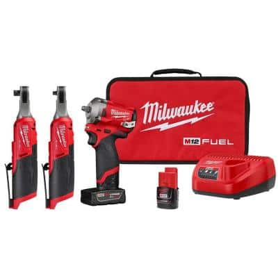 M12 FUEL 12-Volt Lithium-Ion Brushless Cordless Stubby 3/8 in. Impact Wrench Kit with 3/8 & 1/4 in High Speed Ratchets