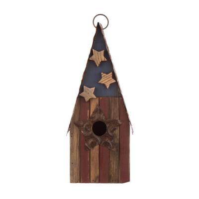 12.5 in. H Solid Wood/Metal Rustic Birdhouse