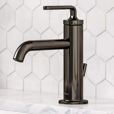 Ramus Single Hole Single-Handle Bathroom Faucet with Matching Lift Rod Drain in Gunmetal
