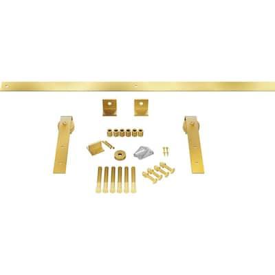 1-1/2 in. x 64 in. x 11-1/2 in. Steel Premium J-Strap Barn Door Hardware Set Moulding Jacob's Gold