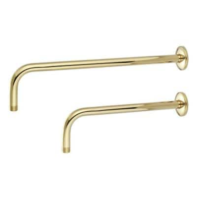 1/2 in. IPS x 12 in. Wall Mount Shower Arm with Flange, in Polished Brass