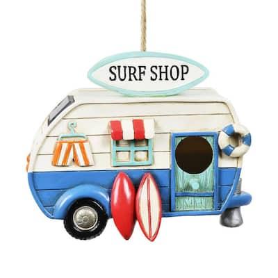 Solar Retro Surf Shop RV Hanging Resin Birdhouse