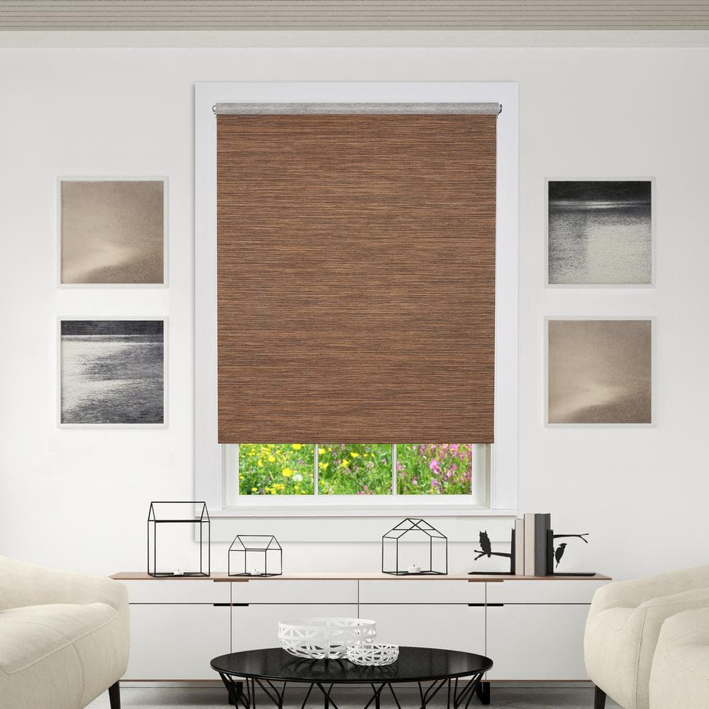 Achim Privacy Cocoa Cordless Light Filtering Woven Poly Jute Roller Shade 39 In W X 72 In L Cps396co01 The Home Depot