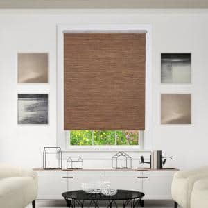 Privacy Cocoa Cordless Light Filtering WovenFabric Roller Shade 59 in. W x 72 in. L