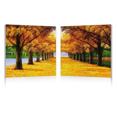Autumnal Boulevard Frameless Canvas Wall Art