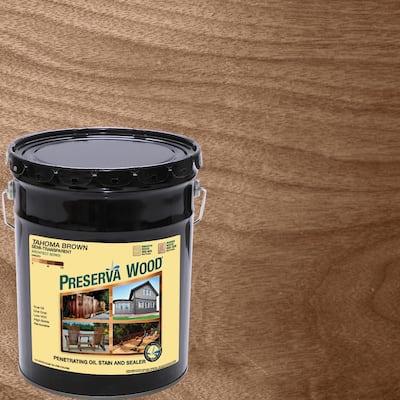 5 gal. Tahoma Brown Semi-Transparent Oil-Based Exterior Wood Stain