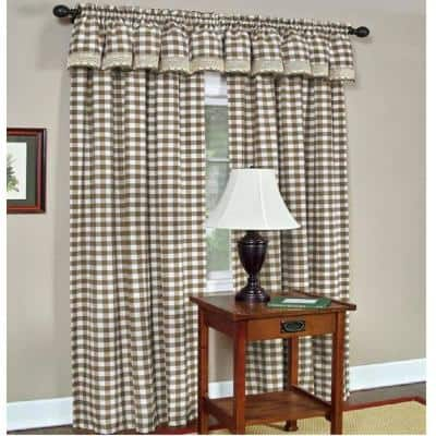 Buffalo Check 14 in. L Polyester/Cotton Window Curtain Valance in Taupe