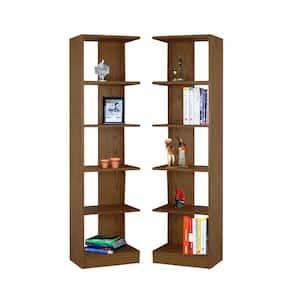 72 in. Dry Oak Wood 10-shelf Standard Bookcase with Adjustable Shelves