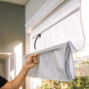 Runway Ready-Made Grey Cordless Light Filtering Magnetic Fabric Roman Shade 33 in. W x 64 in. L