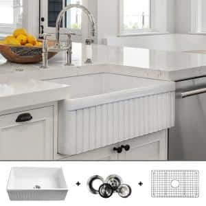 Luxury 33 in. Fine Fireclay Modern Farmhouse Kitchen Sink in White Single Bowl Fluted Front Includes Grid and Drain