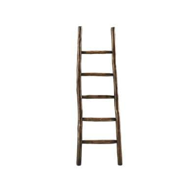 65 in. French Roast Wood 5-shelf Ladder Bookcase with Open Back