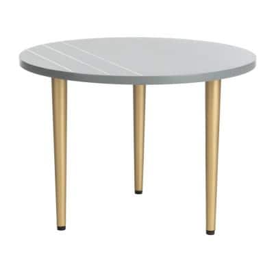 Tezza 19.7 in. Gray/Brass Round Coffee Table