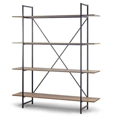 August 75.5 in. Light Brown Weathered Oak Particle Board 4- -Shelf Modern Etagere Bookcase with Metal Frame