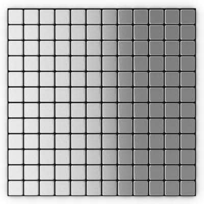 Inoxia Silver Stainless Steel 12.2 in. x 12.2 in. x 5mm Metal Peel and Stick Wall Mosaic Tile