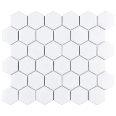Metro 2 in. Hex Glossy White 11-1/8 in. x 12-5/8 in. Porcelain Mosaic (9.96 sq. ft. /Case)