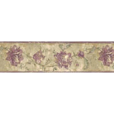 Falkirk Brin II Distressed Purple, Beige Flowers on Vine Floral Pre-Pasted Wallpaper Border