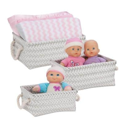 10 in. W x 5 in. H + 11.5 in. W x 5.5 in. H + 13 in. W x 6 in. H Gray Nestable PP Weave Baskets with Liners (Set of 3)