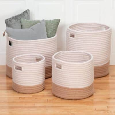 Cortland 12 in. x 12 in. x 12 in. Gold Round Polypropylene Basket