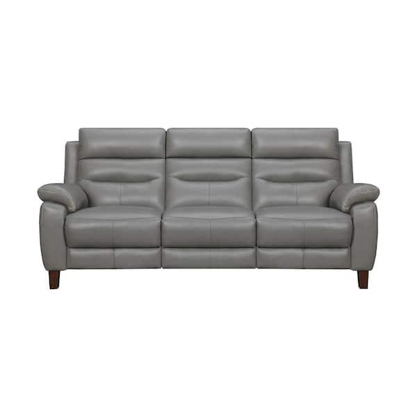 Armen Living Hayward 82 in. Dark Gray Leather Power Reclining Sofa | The Home Depot