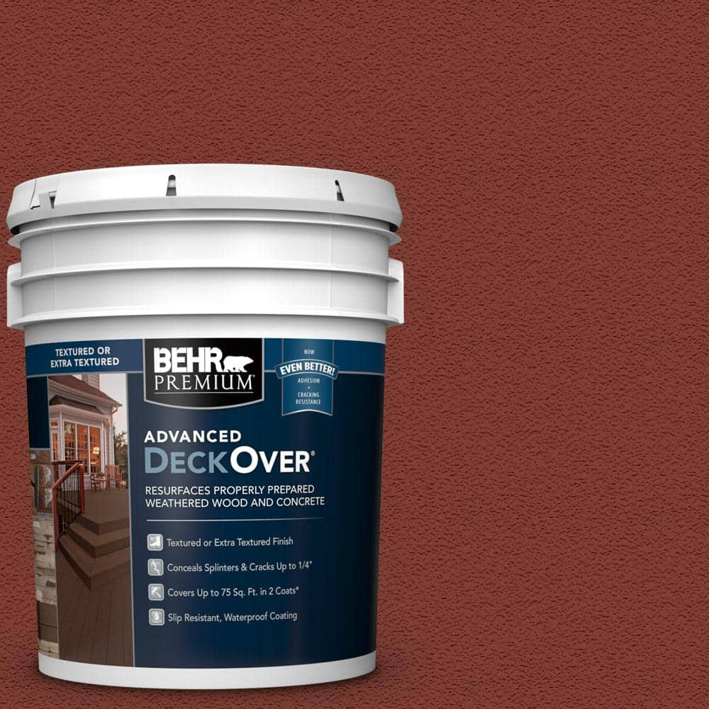 BEHR PREMIUM ADVANCED DECKOVER 5 gal. #SC-330 Redwood Textured Solid Color Exterior Wood and Concrete Coating