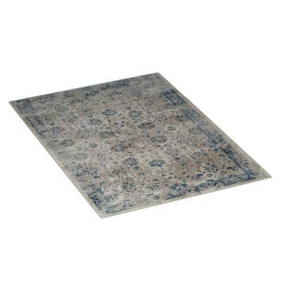 Blue, Gray and Cream 5 ft. x 7 ft. Vintage Floral Plush Area Rug