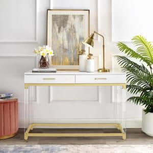 Caspian 48 in. White/Gold Standard Rectangle Wood Console Table with Drawers