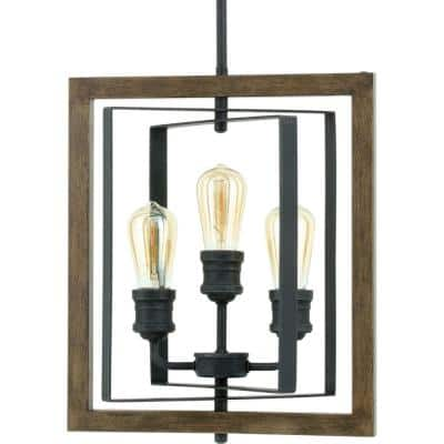 Palermo Grove 14 in. 3-Light Gilded Iron Pendant
