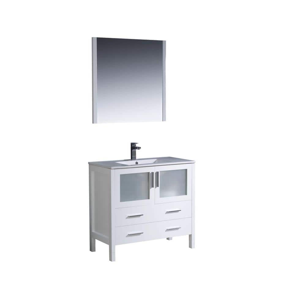 Fresca Torino 36 In Vanity White With Ceramic Top Basin And Mirror Fvn6236wh Uns The Home Depot