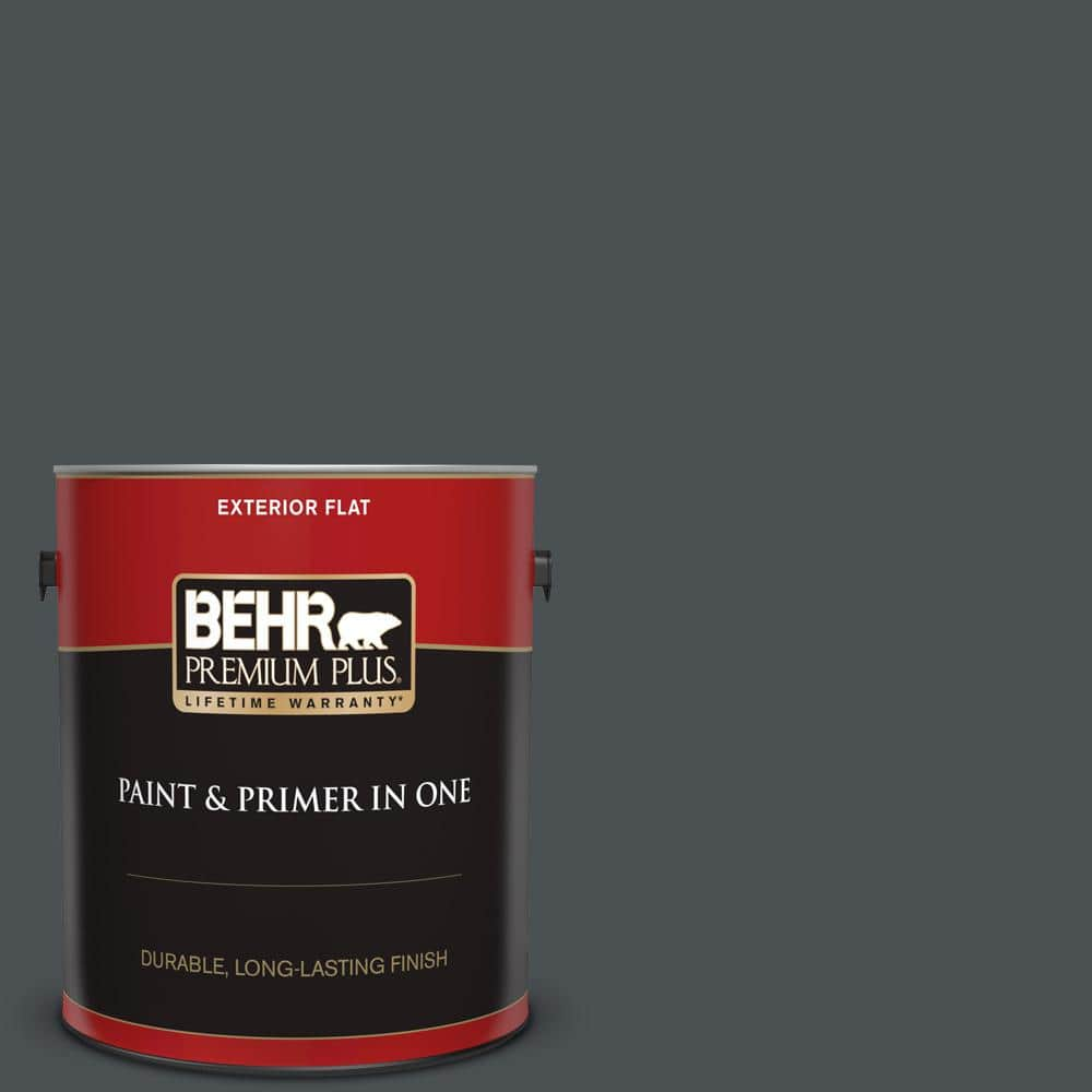 Behr Premium Plus 1 Gal Ppu26 01 Satin Black Flat Exterior Paint And Primer In One 430001 The Home Depot