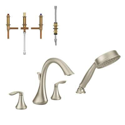 Eva 2-Handle Deck-Mount Roman Tub Faucet with Handshower in Brushed Nickel (Valve Included)
