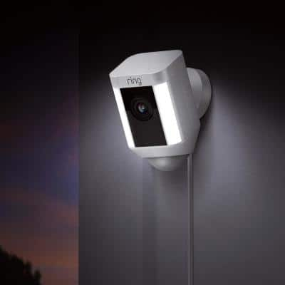 Wired Outdoor Rectangle Spotlight Security Camera in White with Echo Show 5 in Sandstone