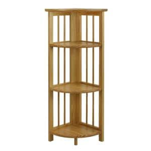 38.75 in. H Natural New Finish Solid Wood 4-Shelf Corner Etagere Bookcase